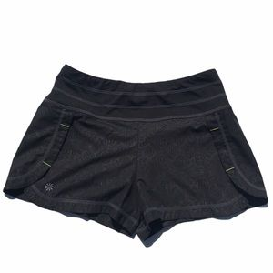 Athleta Ready Set Run Black/Gray Print Shorts